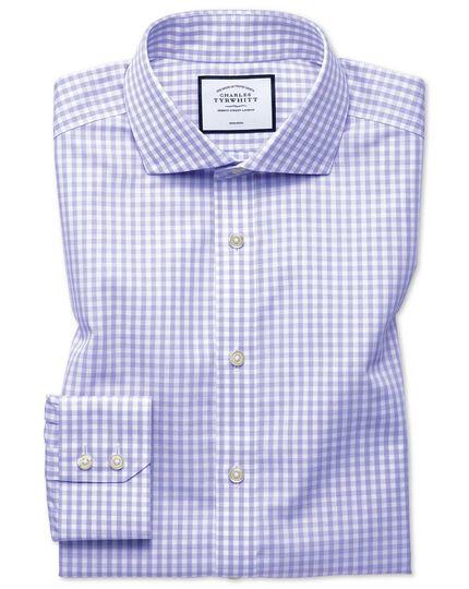 Chemise violette en matière Tyrwhitt Cool coupe droite à carreaux sans repassage
