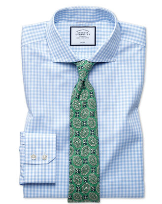 Extra slim fit non-iron sky blue check natural cool shirt