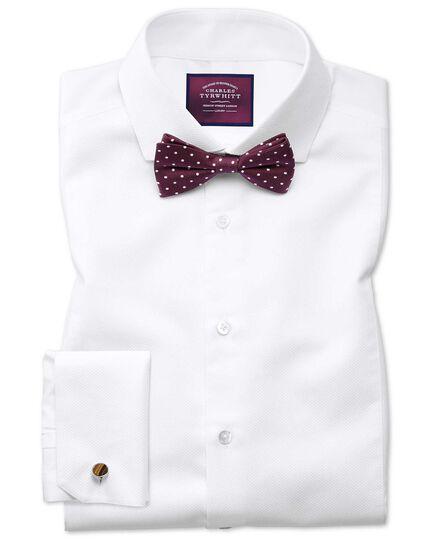 Slim fit cutaway non-iron luxury marcella bib front white shirt
