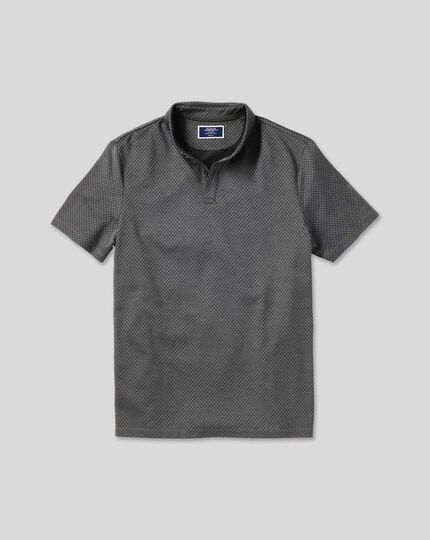 Diamond Jacquard Cotton Polo - Charcoal