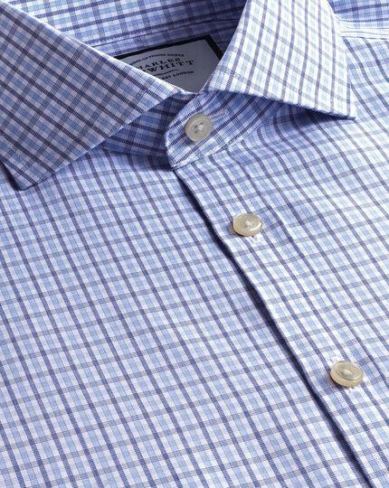 Cutaway Collar Non-Iron Poplin Check Shirt  - Blue & Sky