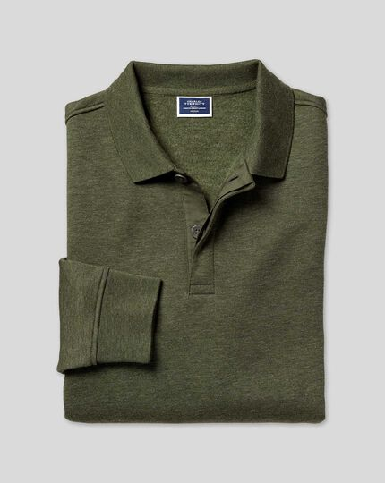 Long Sleeve Polo Sweatshirt - Olive