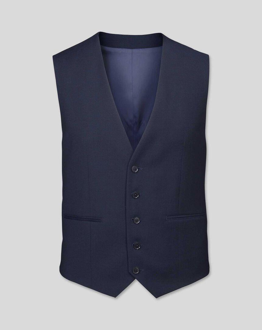 Business Suit Textured Waistcoat - Navy