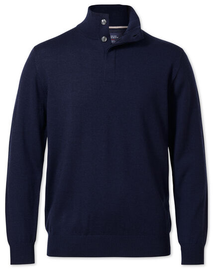 Navy merino wool button neck sweater