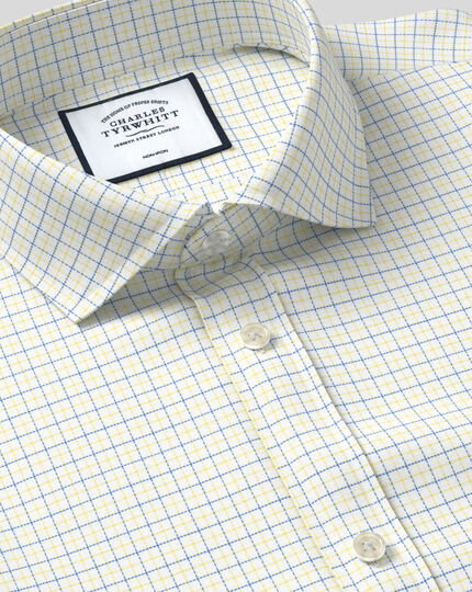 Spread Collar Non-Iron Cotton Stretch Check Shirt - Yellow