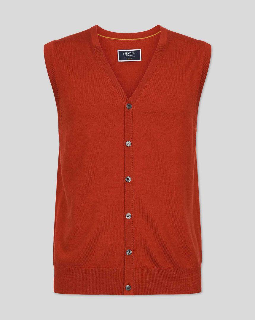 Merino Sweater Vest - Orange