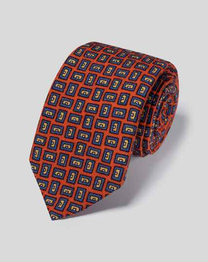 Geometric Print Italian Wool Luxury Tie - Orange & Blue