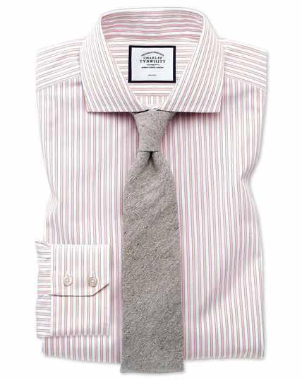 Bügelfreies Slim Fit Hemd mit Schattenstreifen in Rosa