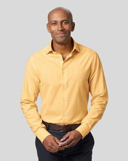 Smart Casual Collar Slub Shirt - Yellow