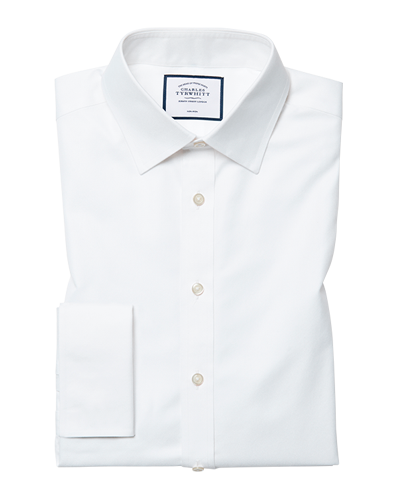 Slim fit white non-iron twill cutaway collar shirt