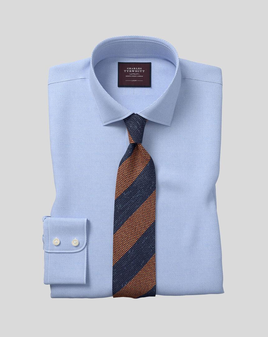 Semi-cutaway Collar Italian Leno Shirt - Blue