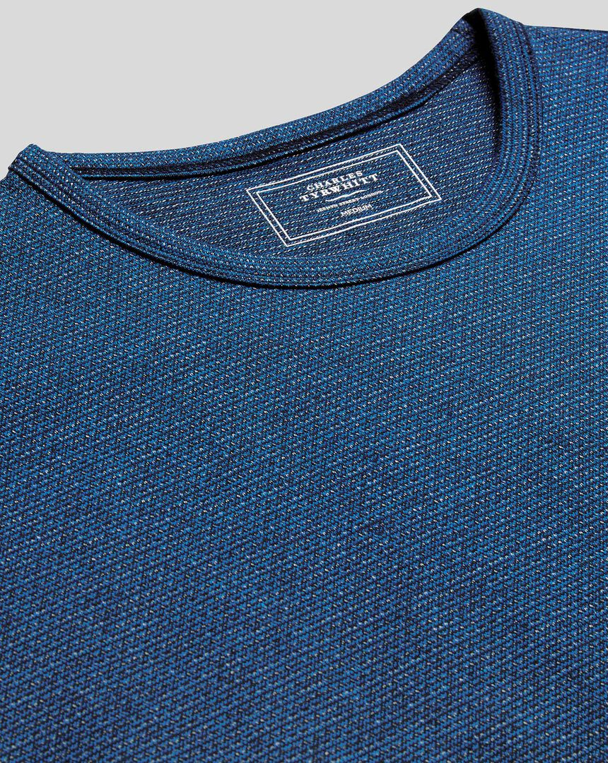 Cotton Linen Tyrwhitt T-shirt - Blue