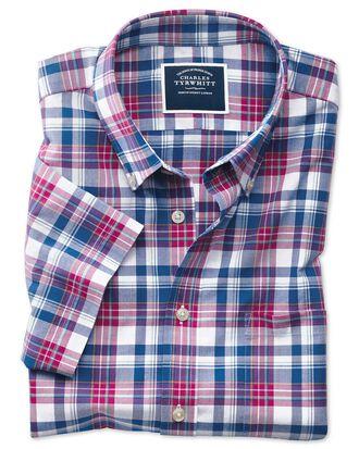 Chemise rose et bleu marine en popeline slim fit à manches courtes