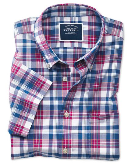 Slim fit pink and navy check short sleeve poplin shirt