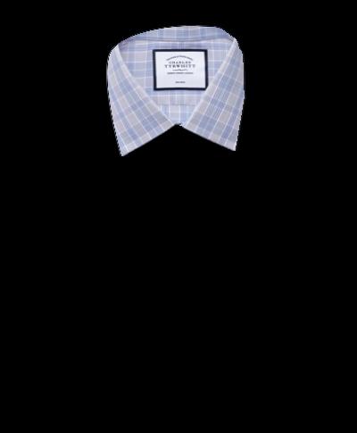 Bügelfreies Extra Slim Fit Hemd mit Prince-of-Wales-Karos in Grau und Aquablau