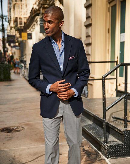 Slim fit navy textured stretch cotton blazer