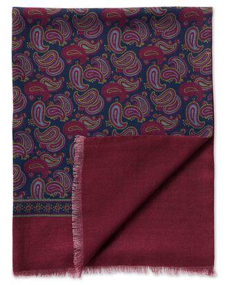 Écharpe bleu marine en laine à grand motif cachemire