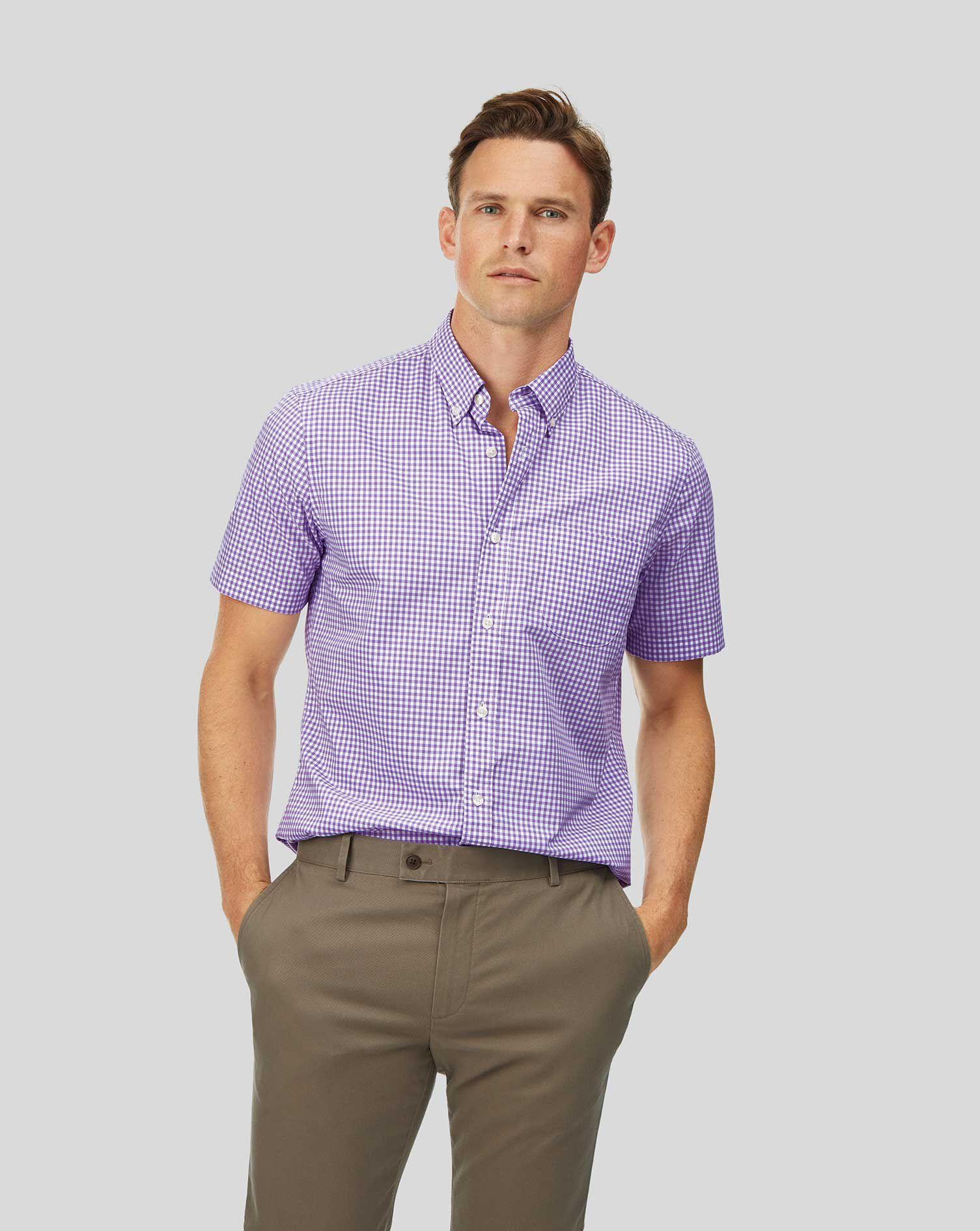 Mens Trim Stretch Button Front Short Sleeve Shirt