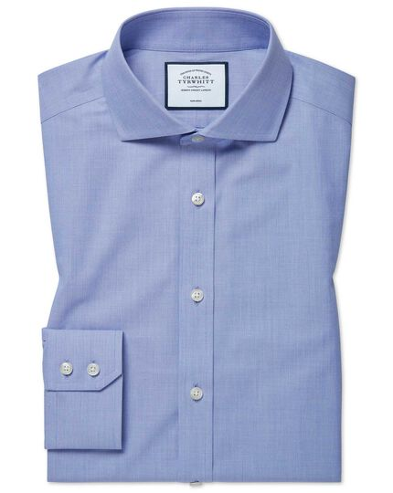 Extra slim fit non-iron 4-way stretch blue shirt