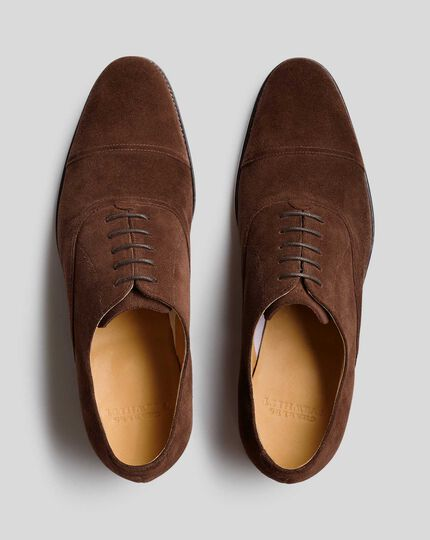 Goodyear Welted Oxford Toe Cap Shoes  - Brown