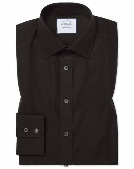 Classic fit black non-iron poplin shirt