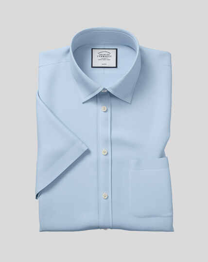 Classic Collar Non-Iron Tyrwhitt Cool Poplin Short Sleeve Shirt - Sky