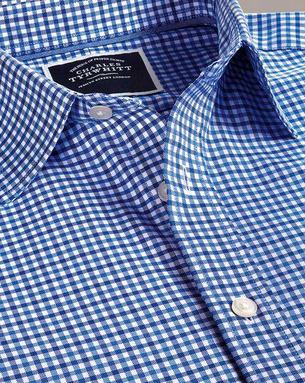 Bügelfreies Slim Fit Oxfordhemd mit Gingham-Karos in Himmelblau und Blau