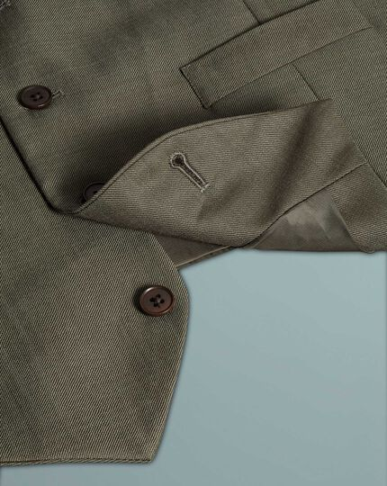 Olive adjustable fit twill business suit waistcoat