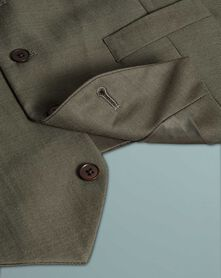 Olive slim fit twill business suit