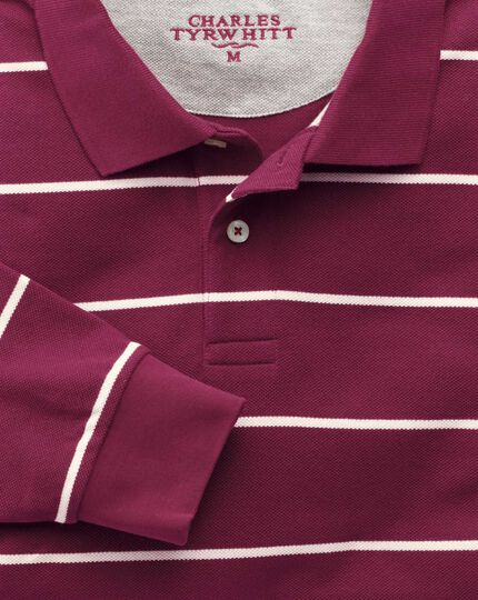 Wine and white stripe pique long sleeve polo