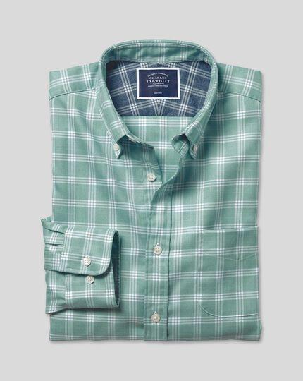 Button-Down Collar Soft Washed Non-Iron Twill Check Shirt - Aqua & White
