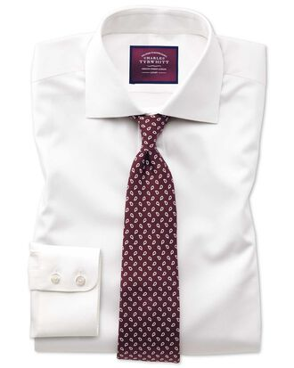 Classic fit semi-cutaway luxury cotton silk off-white shirt