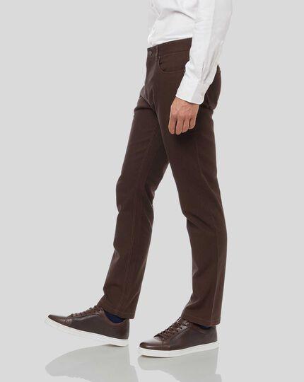 Diamond Dobby 5-Pocket Pants - Chocolate
