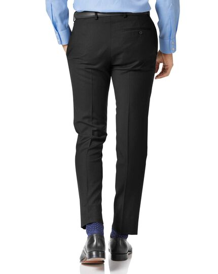 Black slim fit twill business suit trousers