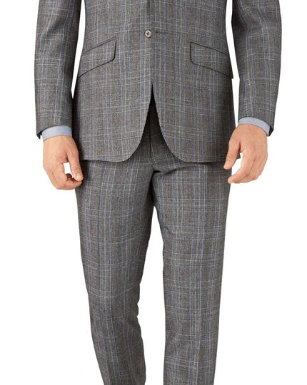 Silver Prince of Wales slim fit flannel business suit jacket