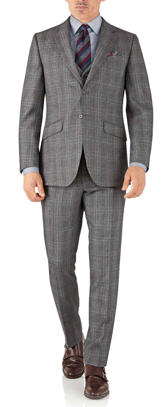 Silver Prince of Wales slim fit flannel business suit