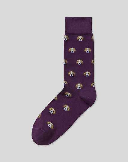 Beagle Motif Socks - Purple
