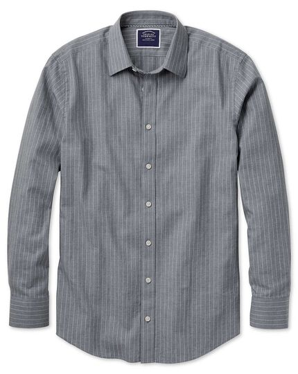 Classic fit grey stripe soft textured shirt