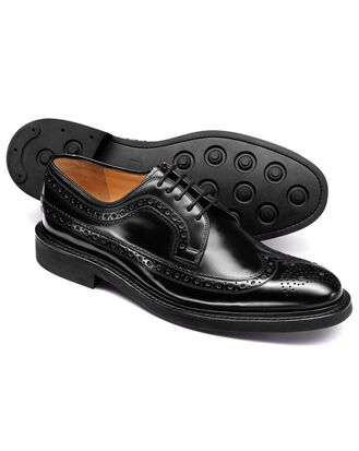 Black wing tip brogue Derby shoe