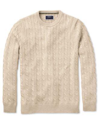 Grey Pima cotton cable crew neck jumper