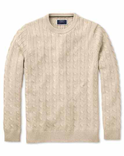 Stone Pima cotton cable crew neck jumper