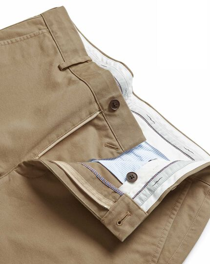 Tan flat front soft washed chinos