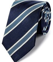 Navy and sky silk traditional stripe classic tie