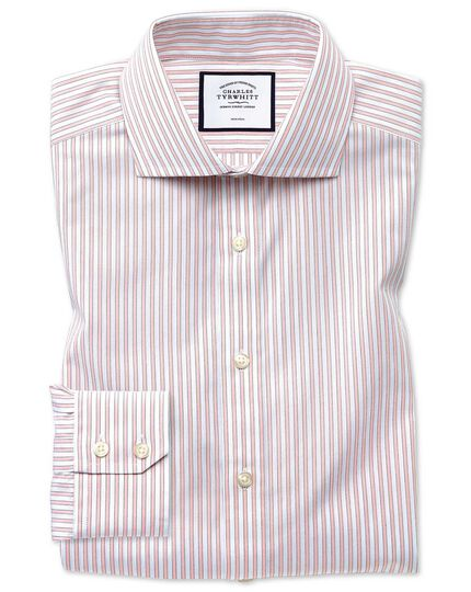Slim fit non-iron shadow stripe pink shirt