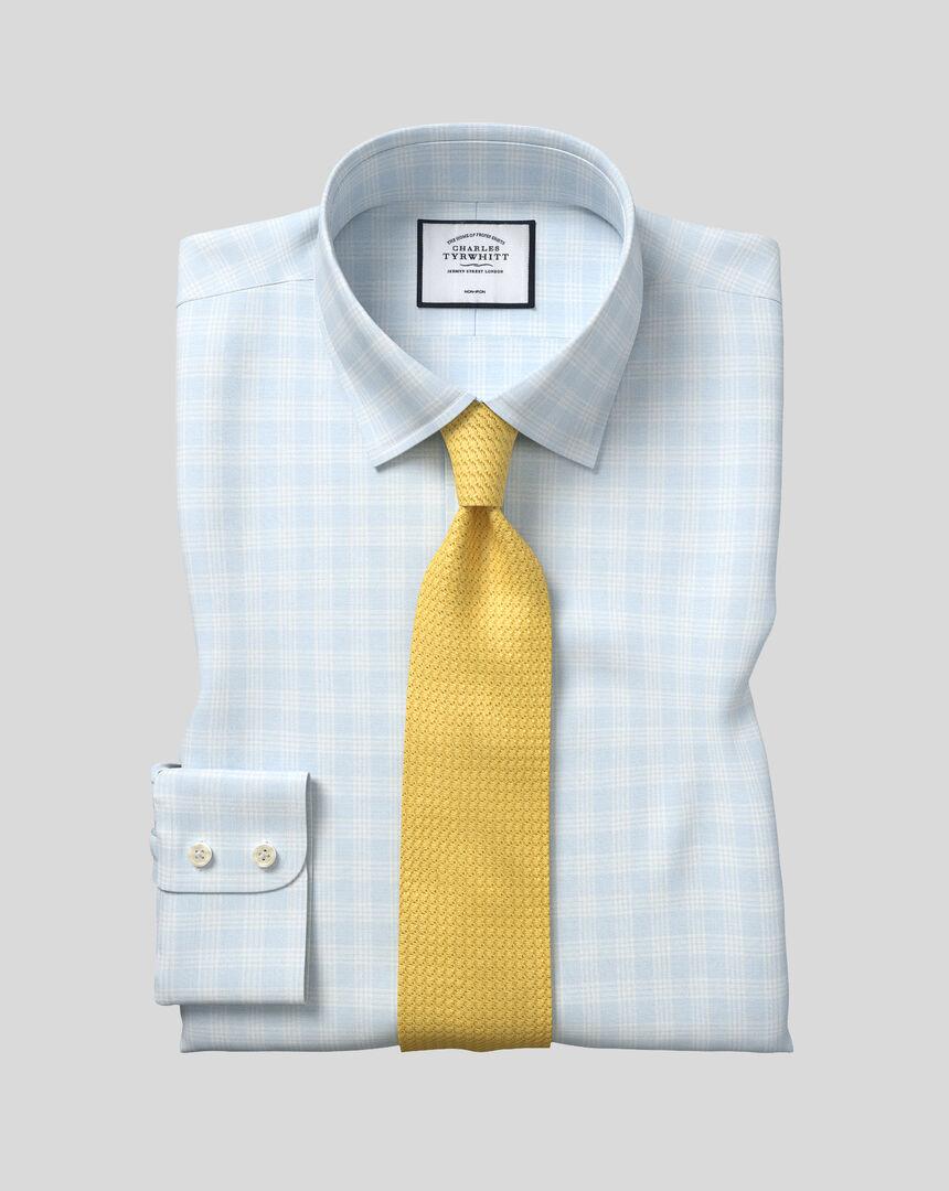 Bügelfreies kariertes Prince-of-Wales-Hemd mit Kent Kragen - Blau