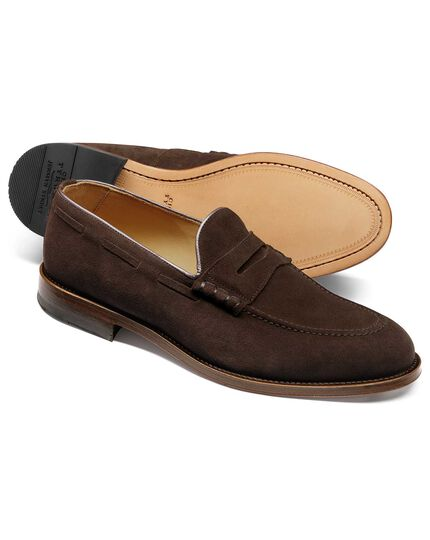 Chocolate suede penny loafer
