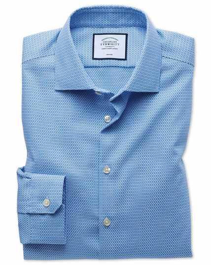 Hemelsblauw, strijkvrij business casual pied-de-poule overhemd met cirkelprint en superslanke pasvorm