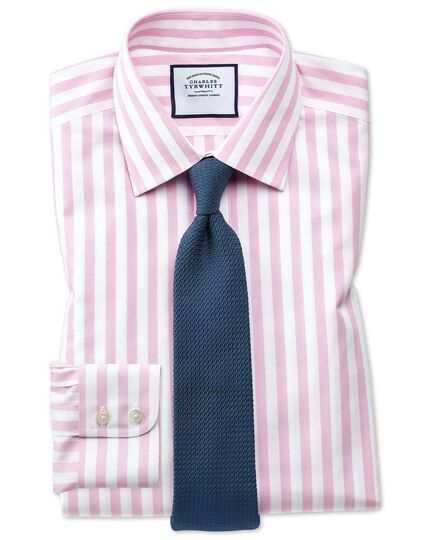 Slim fit non-iron pink wide bengal stripe shirt