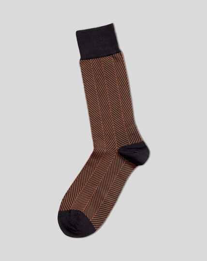 Jacquard Herringbone Socks - Navy & Orange