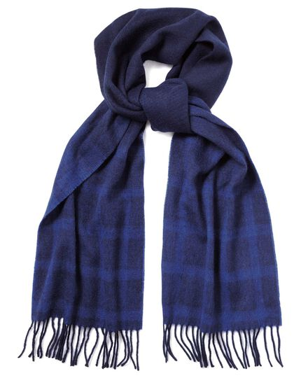 Navy graduated check lambswool scarf